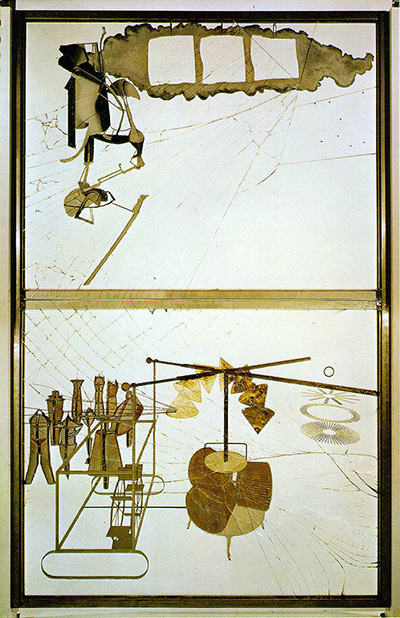 マルセル・デュシャン『彼女の独身たちによって裸にされた花嫁、さえも』(1915-1923)