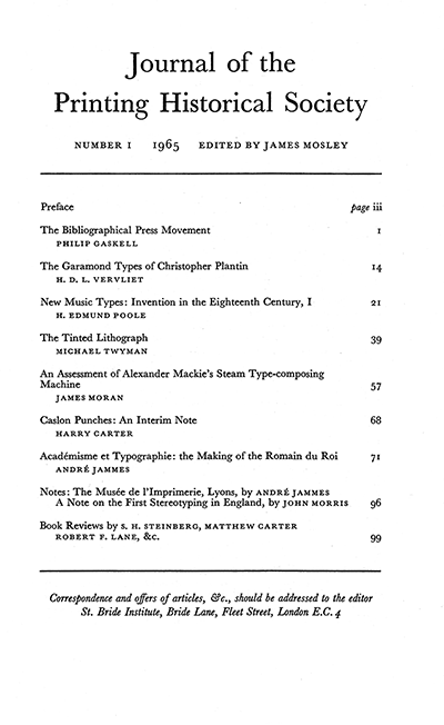 Journal of the Printing Historical Society