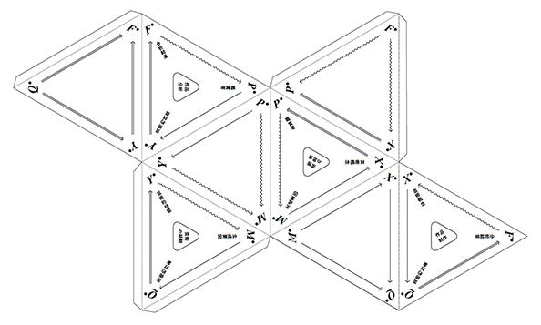 八面体ペーパーモデル 型紙